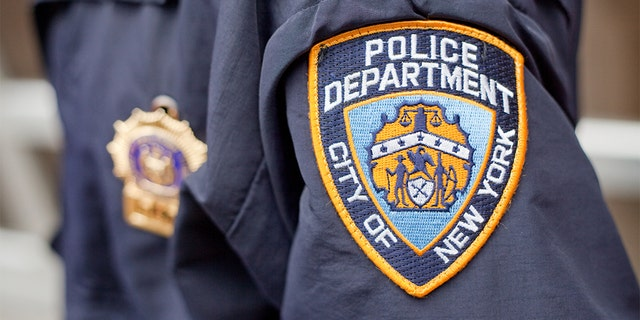 The crest on the jacket of a New York City Police Officer while on patrol.