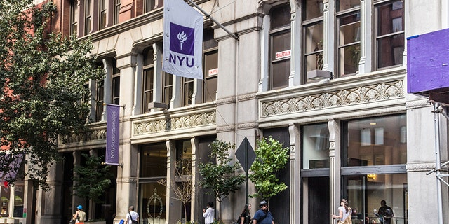 New York City, New York, USA - September 13, 2013: Street view of New York University NYU in Greenwich Village Manhattan. There are people visible in this image.