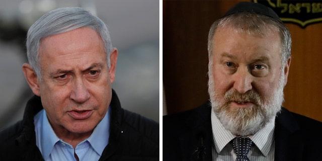 Israel's attorney general Avichai Mandelblit (right) and Prime Minister Benjamin Netanyahu.