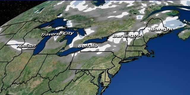 Snowfall forecasts for the Midwest and Northeast through Friday.