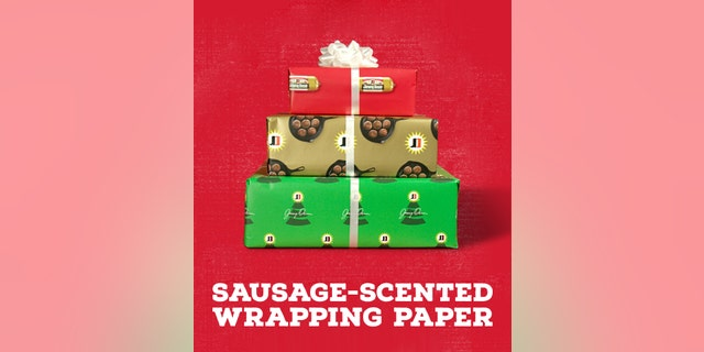"""The sausage-scented wrapping paper is actually """"back by popular demand"""" for the second annual Jimmy Dean Recipe Gift Exchange."""