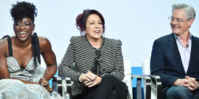"Ito Aghayere, Patricia Heaton and Kyle MacLachlan of ""Carol's Second Act"" at the 2019 Summer TCA Press Tour in Beverly Hills, California."