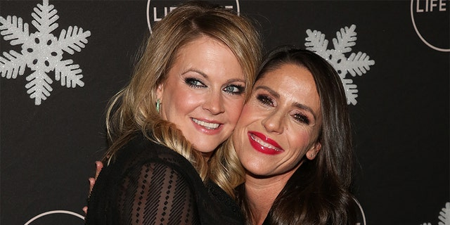 "Melissa Joan Hart (L) and Soleil Moon Frye (R) attend the ""It's A Wonderful Lifetime"" Holiday Party at STK Los Angeles on October 22, 2019 in Los Angeles, California."