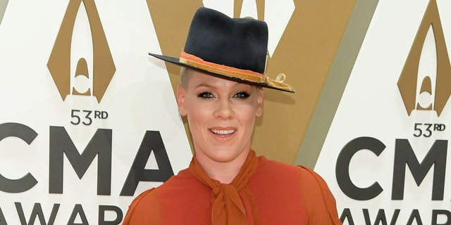 P!nk attends the 53rd annual CMA Awards at the Music City Center on November 13, 2019 in Nashville, Tenn.