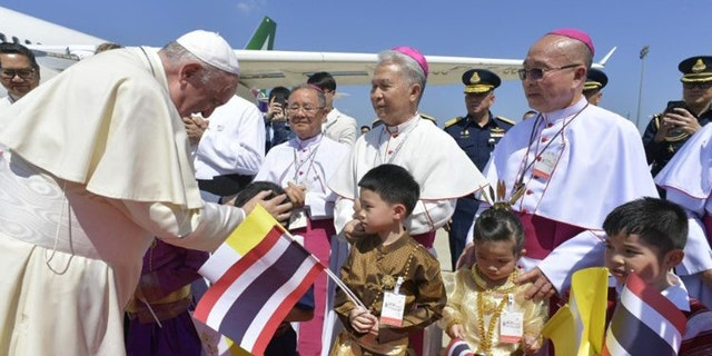Pope Francis on arrival at Bangkok Airport for his first visit to Thailand. (Vatican Media)
