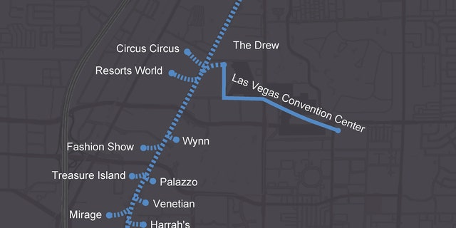 Possible enlargement routes during a Las Vegas Convention Center and Visitors Authority.