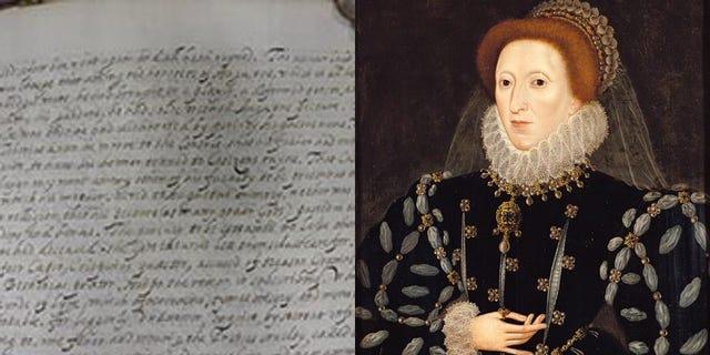 The manuscript/Painting of Queen Elizabeth I by Nicholas Hilliard, circa 1575.