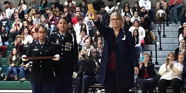 The Purple Heart was shown to students at a Veterans Days ceremony at the school in San Antonio, Texas, that bore his name.