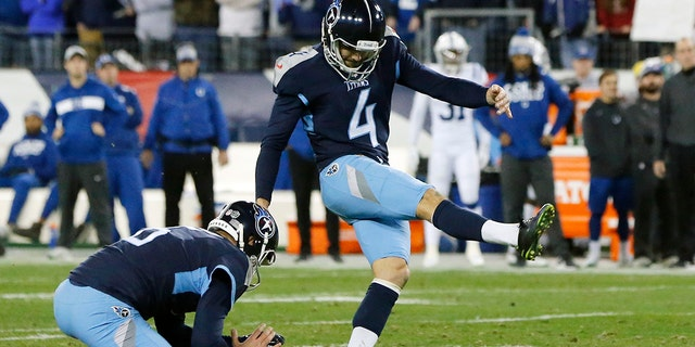 Ryan Succop played for the Chiefs and the Titans. (AP Photo/James Kenney, File)
