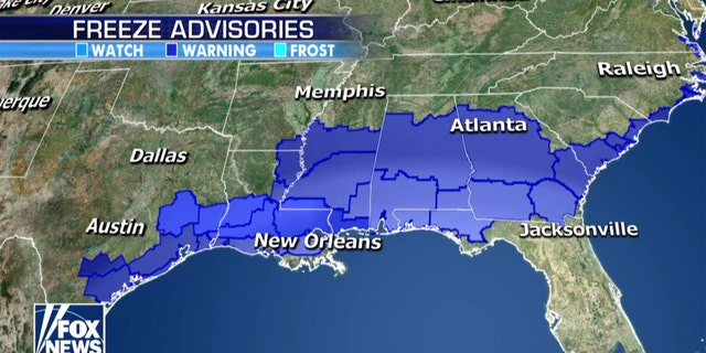 "Freeze Advisories extend down to the Gulf Coast due to the Arctic air<br /></noscript> mass.""></picture></div> <div class="