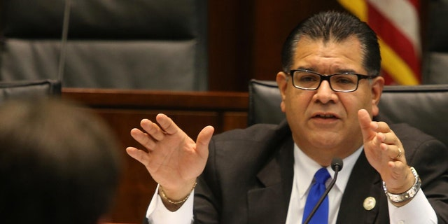 Illinois State Sen. Martin Sandoval, chairman of the Illinois Senate Transportation Committee, asks questions to attorneys during a 2014 hearing on March 13, 2014. (Antonio Perez/Chicago Tribune/Tribune News Service via Getty Images)
