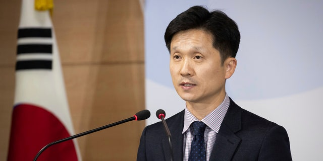 South Korean Unification Ministry spokesman Lee Sang-min briefs the media at a government complex in downtown Seoul, South Korea, Thursday, Nov. 7, 2019.