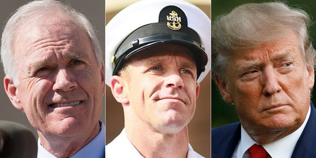 Former Navy Secretary Richard Spencer, Navy SEAL Eddie Gallagher and President Trump.