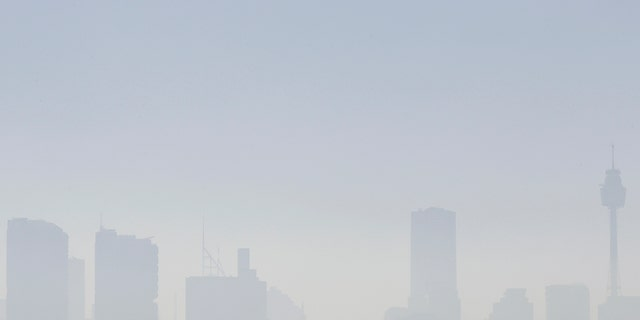 Smoke haze covers Sydney on Tuesday as wildfires have caused the air quality in the city to reach hazardous conditions.