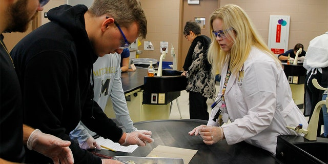 Students from J.W. Mitchell High School in New Port Richey, Florida participated in the first-ever SynDaver Synthetic Frog dissection Wednesday. The SynFrog is expected to eventually replace dead frogs for use in dissections at schools nationwide