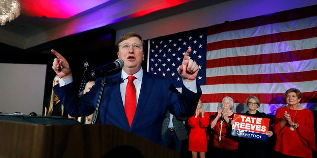 Republican Gov.-elect Tate Reeves addresses his supporters at a state GOP election night event, Tuesday, Nov. 5, 2019, in Jackson, Miss. Reeves defeated Democratic Attorney General Jim Hood. (AP Photo/Rogelio V. Solis)