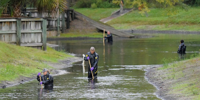 Law enforcement investigators in dry suits search the small retention pond near the entrance of the Southside Villas apartment complex off Southside Blvd. in Jacksonville, Florida Wednesday afternoon, November 6, 2019.