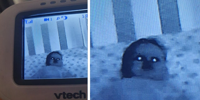 """Last week, Elise Bannister took to social media to share a """"hilariously creepy"""" picture of her infant son Finn taken by a VTech baby monitor she recently purchased."""