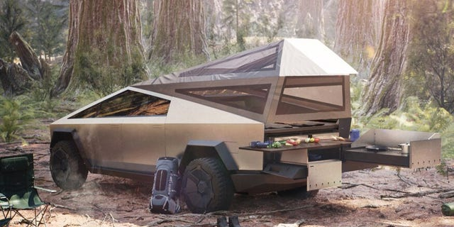 Westlake Legal Group Tesla-Cybertruck-Electric-Pickup-with-Camping-Gear-and-In-Bed-Tent 7 funky features on Tesla's Cybertruck Gary Gastelu fox-news/auto/style/pickups fox-news/auto/make/tesla fox-news/auto/attributes/innovations fox-news/auto/attributes/electric fox news fnc/auto fnc e34661f4-d937-5ff2-b3f9-1e6fe2638a05 article