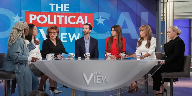 THE VIEW - (L-R) WHOOPI GOLDBERG, ABBY HUNTSMAN, JOY BEHAR, DONALD TRUMP JR., KIMBERLY GUILFOYLE, SUNNY HOSTIN, MEGHAN MCCAIN