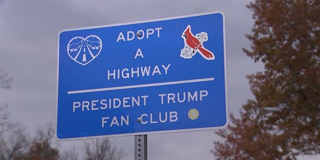 "Nick Umbs is definitely one of the biggest fans of President Trump, and he is showing it vociferously in public. He is behind Adopt a Highway signs in Fairfax County, Virginia, being cared for by the ""President Trump Fan Club."" (FOX5DC)"