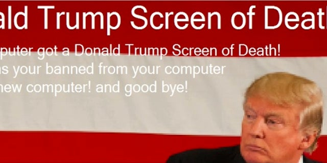 Screenshot of the 'Donald Trump screen of death'.