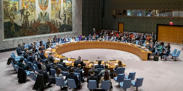 The U.N. Security Council holds a meeting on the Middle East, including the Palestinian question, Wednesday, Nov. 20, 2019 at United Nations headquarters.