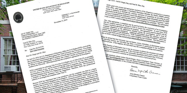 A letter sent to the attorneys who filed a complaint against NYU.