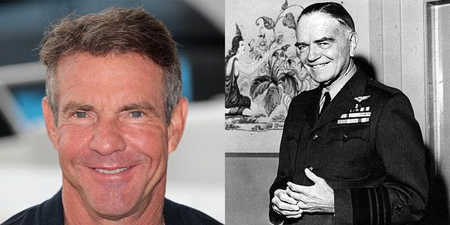 """Dennis Quaid and Vice Admiral William """"Bull"""" Halsey"""