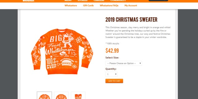 "The phrases ""100 percent pure beef"" and ""Just the way you like it"" adorn the front of the sweater, along with images of Santa, cheeseburgers and snowflakes."