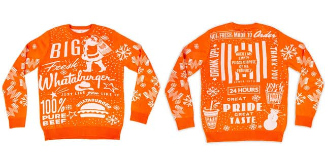 "The sweater is said to be just the first of many items in Whataburger's ""holiday merch lineup,"" according to the chain.<br>"