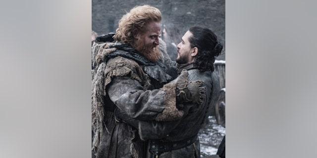 Kristofer Hivju as Tormund (L) and Kit Harington as Jon Snow (R)