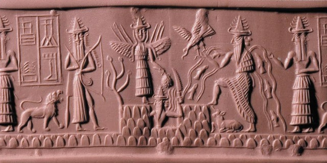 The Adda Seal featuring the god Ea second from the right Credit: The Trustees of the British Museum