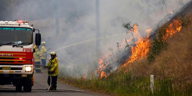 In Monday, Nov. 11, 2019, photo, firefighters work on a controlled burn in Koorainghat, New South Wales state, Australia.