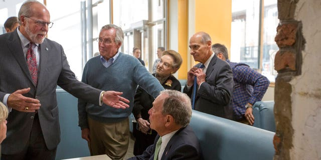 Democratic Presidential candidate Michael Bloomberg talks with patrons at the D'egg Diner during his campaign stop in Norfolk, Va., Monday, Nov. 25, 2019. (AP Photo/Bill Tiernan)