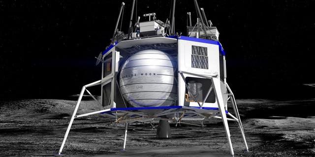 Illustration of Blue Origin's concept for a commercial lunar lander. (Blue Origin)