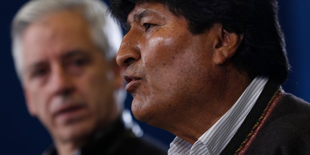 Bolivia's President Evo Morales speaks during a press conference at the military airport in El Alto, Bolivia, Saturday, Nov. 9, 2019. (AP Photo/Juan Karita)