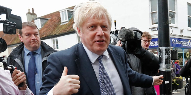 British Prime Minister Boris Johnson photographed during a campaign stop in Wells. England, on Thursday. (AP)
