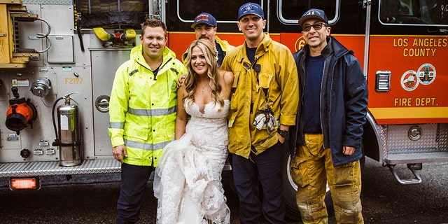 Weeks later, the LACFD reportedly received an image of the beaming bride, four firefighters and the lucky truck that transported the woman to the altar in high style.