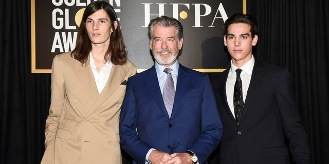Dylan Brosnan, from left, Pierce Brosnan, and Paris Brosnan attend the Hollywood Foreign Press Association and The Hollywood Reporter celebration of the 2020 award season and Golden Globe Ambassador reveal at Catch LA on Thursday, Nov. 14, 2019, in West Hollywood, Calif.