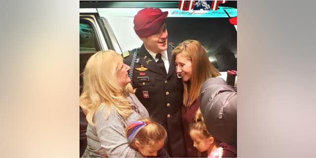 Army 1st Lt. Clint Lorance reunites with family members Friday after his release from a prison in Kansas following President Trump's decision to grant clemency. (Photo courtesy of Don Brown, attorney)