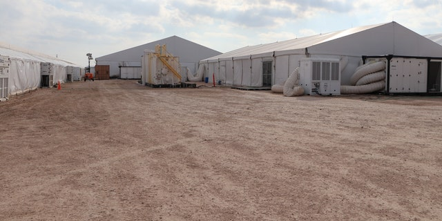 Soft-sided migrant facilities in Texas. (Adam Shaw/Fox News)
