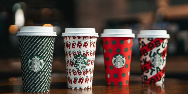 Starbucks & # 39; new designs, from left, are