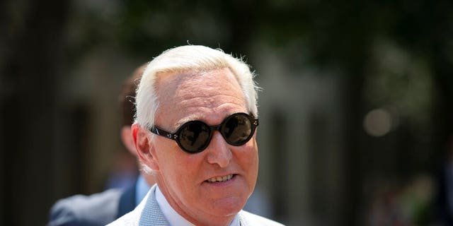 FILE - In this July 16, 2019, file photo, Roger Stone, a longtime confidant of President Donald Trump leaves federal court in Washington. Stone is going on trial on Nov. 5, over charges related to his alleged efforts to exploit the Russian-hacked Hillary Clinton emails for political gain. (AP Photo/Sait Serkan Gurbuz, File)