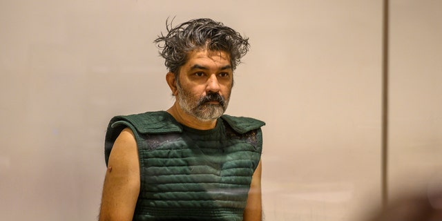 Shankar Hangud, wearing a personal safety vest, appears in the Placer County Superior Court in Roseville, Calif., last month. (Renee C. Byer/The Sacramento Bee via AP, Pool, File)