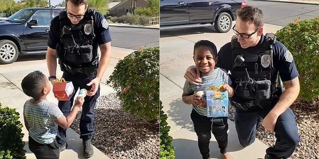 """""""He said, 'I brought you a Happy Meal but before I give it to you we need to talk about the right time to call 911,'"""" Charlie's mom, Kim Skabelund, said. """"Officer Valdez was wonderful. He handled the situation with such love and kindness and really touched our hearts."""""""
