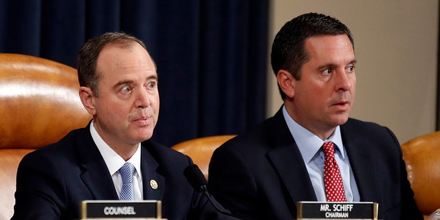 House Intelligence Committee Chairman Rep. Adam Schiff, D-Calif., left, and ranking member Rep. Devin Nunes, R-Calif. (AP Photo/Alex Brandon)