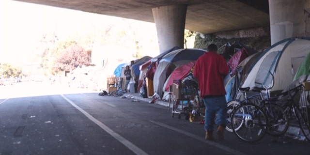 A row of homeless tents in Oakland, Calif. (Credit: Gabe Nazario/Fox News)