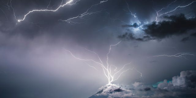 Lightning strikes the top of Volcán de Pacaya, an active volcano in Villa Canales, Guatemala in a recent storm.