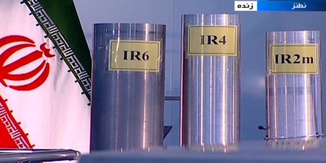 In this 2018 frame grab from Iranian state TV, three versions of domestically-built centrifuges are shown during a live program from Natanz, an Iranian uranium enrichment plant, in Iran. (AP/IRIB)